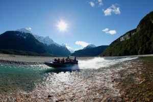 Dart River Jet, Glenorchy, New Zealand. Model released