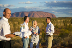 Uluru - friends enjoying the Sounds of Silence dinner - Luxury outback tour
