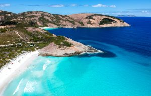 Esperance - fine white sand edged by tumbles of round boulders - luxury short breaks on private aircraft