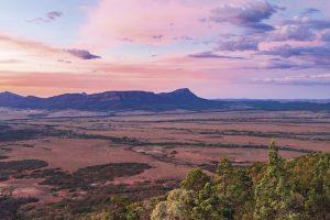 Flinders Ranges - South Australia's largest mountain range in blue haze - Luxury Private Australian Air Tour
