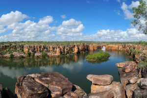 Berkeley River - Casuarina Creek with its vertical waterfalls and island in the lagoon - Luxury Private Kimberley Air Tour
