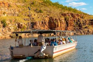 El Questro - cruising the Chamberlain Gorge with the colours of the Kimberley - Luxury Private Kimberley Air Tour