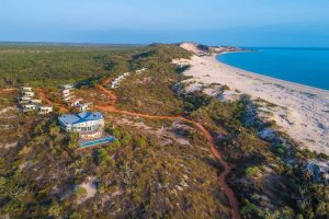Berkeley River Lodge - aerial view of the lodge and beach over the dunes - Luxury Private Kimberley Air Tour