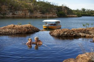 Western Australia - enjoying an afternoon in a fresh water swimming hole - Luxury Private Kimberley Air Tour