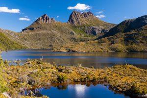 Cradle Mountain - Dove Lake at the foot of the mountain - Luxury Private Air Tour Tasmania