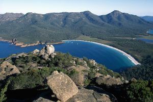 Freycinet National Park - looking down over Wineglass Bay - Luxury Private Air Tour Tasmania