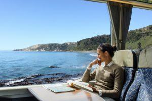 New Zealand - Coastal Pacific lady enjoying the views - Luxury train journeys