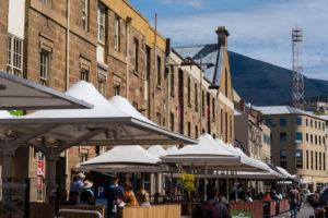 Hobart - sandstone buildings of Salamanca Place - Luxury short breaks Tasmania