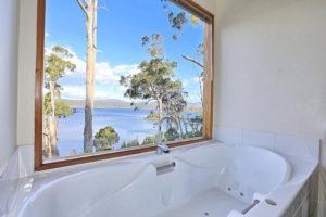 Stewarts Bay - spa bath with views over Stewarts Bay - Luxury short breaks Tasmania