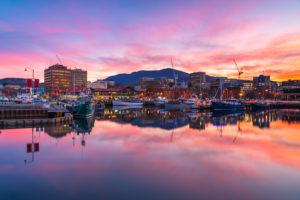 Hobart - sunrise over Hobart harbour - Luxury Short Break Australia