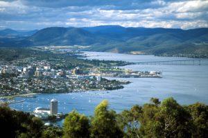 Hobart - aerial view of Hobart harbour - Luxury Short Breaks Australia