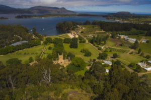 Port Arthur - aerial view of historic buildings and harbour - Luxury Short Breaks Australia
