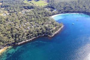 Port Arthur - aerial view of Stewart Bay lodge - Luxury Short Breaks Australia