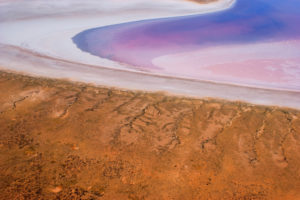 Lake Eyre – aerial view of Lake Eyre from your private aircraft – luxury short breaks on a private aircraft