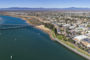 Port Augusta - aerial view with mountains in the background - South Australia