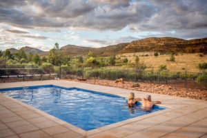 Flinders Ranges – the view from the pool at Rawnsley Park Station – Luxury accommodation in Outback Australia