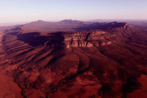 Flinders Ranges – aerial view of the natural wonder Wilpena Pound – Luxury Short Breaks in Outback Australia