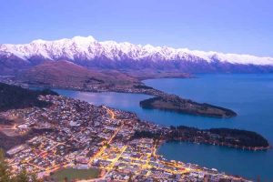 Queenstown - aerial view over the city at night - Luxury short breaks New Zealand
