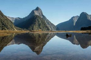 Milford Sound - reflection of Mitre Peak in the waters - Luxury short breaks New Zealand