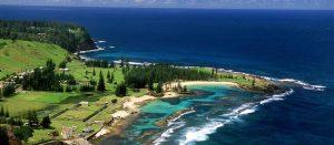 Norfolk Island - aerial of Emily Bay - luxury short breaks