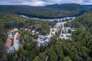 Corinna - aerial view of wilderness experience on the river - luxury short breaks Tasmania