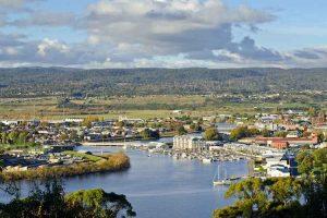 Launceston - aerial view of the Tamar River - luxury short breaks Tasmania