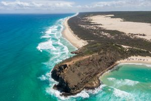 Fraser Island - aerial view of 75 Mile Beach - Luxury solo tours