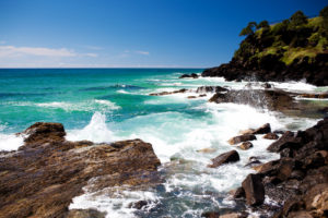 Kingscliff - waves breaking over the rocks - Luxury short breaks Australia