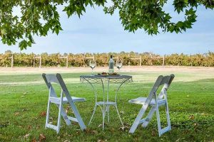 Milawa - Lindenwarrah table set overlooking the vineyards - Luxury solo tours