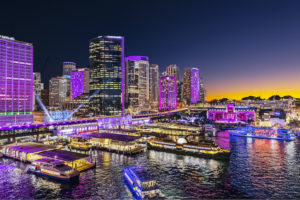 Sydney - Circular Quay illuminated by Vivid projections - luxury short breaks New South Wales