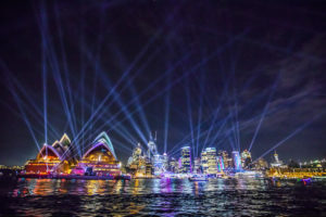 Sydney - light show of Circular Quay and Sydney Opera House - luxury short breaks New South Wales