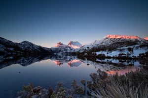 Cradle Mountain - snow covered peaks at sunset - Luxury solo tours