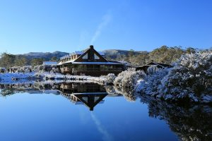 Cradle Mountain - Peppers Cradle Mountain Lodge covered in snow - Luxury solo tours